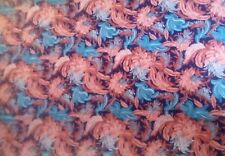 """Vintage South Beach Tropical Coral-Dark Blue-Turquoise 3 yards x 42"""""""