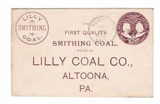 Lilly Smithing Coal, Advertising cover, St. Paris, OH, 2 ct Columbian stat, 1893