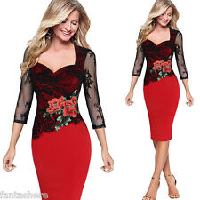 Women's Bodycon Lace Floral Embroidered Formal Evening Party Pencil Dress S-5XL
