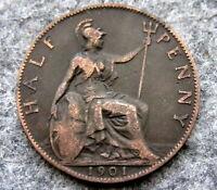 GREAT BRITAIN QUEEN VICTORIA 1901 HALFPENNY HALF 1/2 PENNY