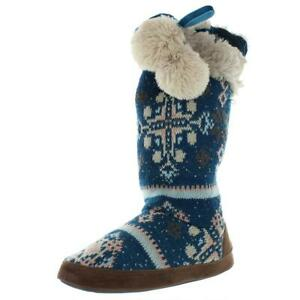 Muk Luks Womens Chanelle Blue Bootie Slippers Shoes S/5-6 B (M) US BHFO 0540