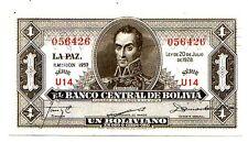 Bolivia  1 boliviano l 1928 em 1952 serie U  FDS UNC   Pick 128 c Lotto 2886