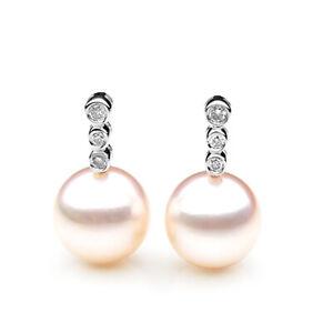 9mm Japanese Akoya Saltwater Diamond Pearl Earrings Pacific Pearls® Wedding Gift