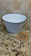 White Enamelware Metal Pot Bucket Planter 3� x 6� by Kraft Klub Farm House Decor