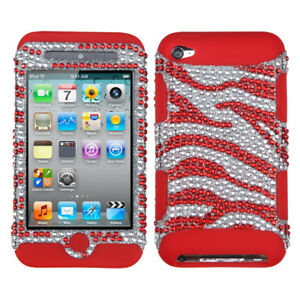 iPod Touch 4th Gen - Red Zebra Bling Hard&Soft Rubber Armor Diamond Hybrid Case