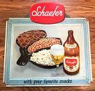 VINTAGE SCHAEFER BEER UNFOLDED SELF FRAMED CARDBOARD SIGN NEW YORK NY QUART BOTT