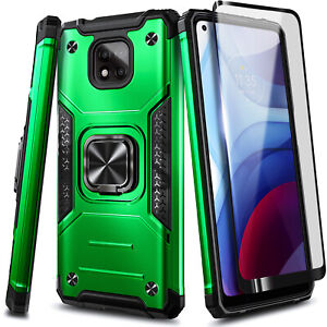 For Motorola Moto G Power (2021), Shockproof Ring Stand Case + Tempered Glass