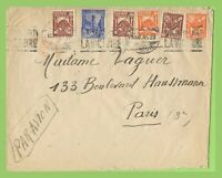 Tunisia 1945 multifranked cover to Paris France