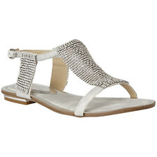 LADIES LOTUS AGNETHA SILVER DIAMANTE FLAT SANDALS BUCKLE FASTENING SHOES