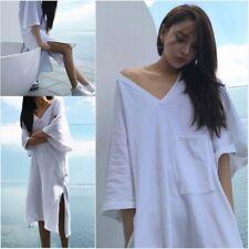 Women's Long Loose White V Neck T-shirt Split Short Sleeve Beach Top Shirt Dress