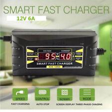 Coche 12V 6A Plomo Ácido Batería Cargador Trifásico Rápido Inteligente Visual