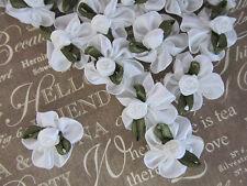 """60 White Satin Ribbon Rose 1"""" Ruffle Flower Bow/Pearl Trim/Leaf/Wedding Craft F3"""