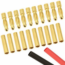10 x RC 4mm Pairs Gold Bullet Connector + Heat Shrink Lipo Battery ESC Motor