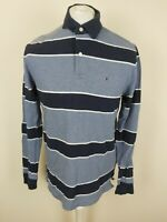 Mens Tommy Hilfiger Long Sleeve Rugby Polo Shirt Blue Medium 40 Chest Vgc
