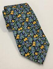 Men's Lauren Ralph Lauren 100% Silk Neck Tie Yellow Blue Tulip Floral Print