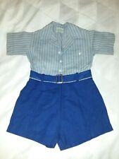 Vintage Jack Tar Togs Cotton 1940's Blue Boys Short Set 3 Pc Sz 3T