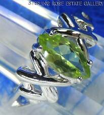Marquise Cut PERIDOT kisses Sterling Silver 0.925 Estate Solitaire RING size 8