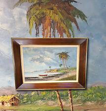 MIGUEL VELAZCO Scène de plage en Brésil. Rare impressionniste Peinture à l'huile