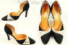 Vtg PALIZZIO Spain Black Suede Gold Leather Heels Pumps Shoes Pointy Toe 8 N