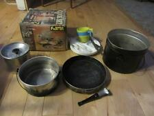 WORLD FAMOUS CAMPING COOK SET ALL STACKS IN ONE METAL PAIL COOKER VTG USED