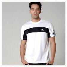New Adidas Men'S Galaxy Crew Tennis Tee White/Black T-Shirt Top Sz/ Large