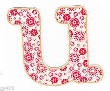 "2.5"" Pretty flower letter u monogram fabric applique iron on"