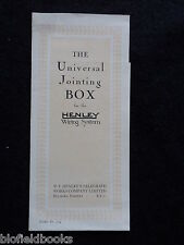 Vintage Electrical Trade Leaflet - Henley Universal Jointing Box - c1926, Wiring