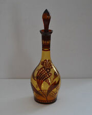 VINTAGE BOHEMIA GLASS DECANTER RUBY RED CUT TO AMBER GLASS