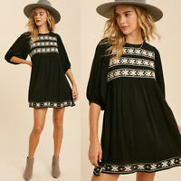 NEW Black Ethnic Embroidered BOHO Voluminous Balloon Half Sleeves Babydoll Dress