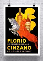 Florio Cinzano Vintage Italian Liquor Advertising Poster Canvas Giclee 24x32 in.