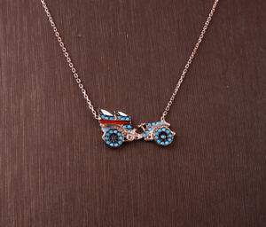 OLD CAR TURQUOISE ROSE GOLD COLORED OVER STERLING SILVER NECKLACE #33921