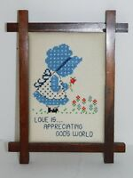 Cross Stitch Flowers Love is Appreciating God's World Framed Finished