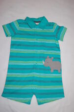 Baby Boys Teal Green Shorts Romper Striped Rhinoceros Snap Up Carter'S Sz 3-6 Mo