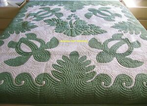 Hawaiian quilt wall hanging handmade 100% hand quilted/appliqued BEDSPREAD CGO