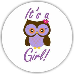 108 It's a Girl Owl Pink Stickers Labels Baby Shower Party Favors Kisses Its