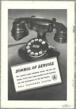 1937 Bell telephone advertisement, rotary dial desk phone, WE D102