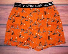 MENS AMERICAN EAGLE SKELETON ORANGE BOXER SHORTS SIZE S (29/31)