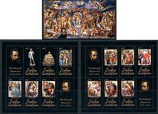 Central Africa Art Religion Michelangelo complete MNH stamp set 15 sheets