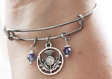 Outlander Scottish Thistle Scotland Celtic Gaelic Alba Silver Bangle Bracelet