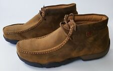 Twisted X Men's MDMST01 Safety Toe Driving Moc Distressed Saddle Leather Sz 9.5