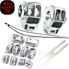 Chrome Switch Housing Cover +10Pcs Caps For Harley Electra/Road/Tri Glide 96-13