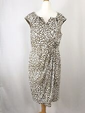 Adrianna Papell Brown & White Leopard Print Mock Wrap Dress UK Size 18