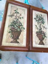 Home Interiors / Homco Pothos Ivy Topiaries By Barbara Mock Wood Frame Set of 2