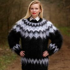 Icelandic hand knitted mohair sweater fuzzy SUPERTANYA nordic black jumper