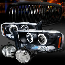 Dodge 02-05 Ram Black Halo LED Projector Headlights+Grille+Chrome Fog Lights