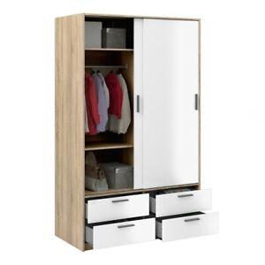 Sliding Doors Wardrobe 2 Doors 4 Drawers in Oak with White High Gloss 121x200x60