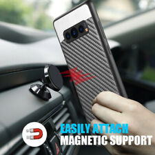 For Samsung Galaxy S10 Plus - Magnetic Backplate BLACK Carbon Fiber Case Cover