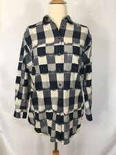 Women's Madewell Oversized Button Down Shirt Ikat Check Blue Sz XS Top Blouse