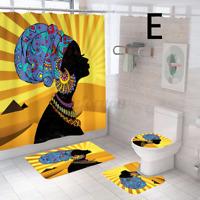 4X Afrikanische Frau Badmatte Duschvorhang WC sitz Abdeckung Anti Rutsch Teppich