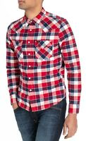 LEE Mens Long Sleeve Cotton Shirt Western Check Slim Fit Bright Red S M L XL XXL